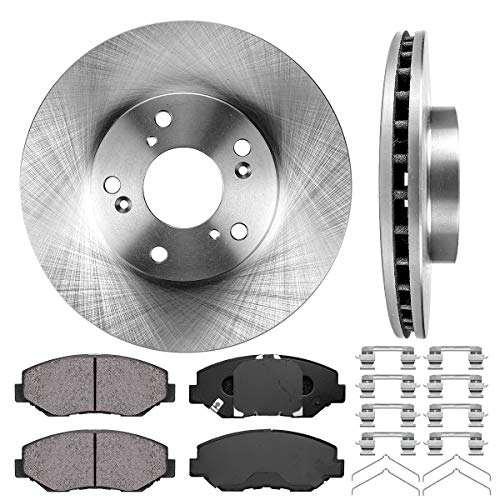 Callahan FRONT 282 mm Premium OE 5 Lug [2] Brake Rotors + [4] Ceramic Pads + Hardware ()