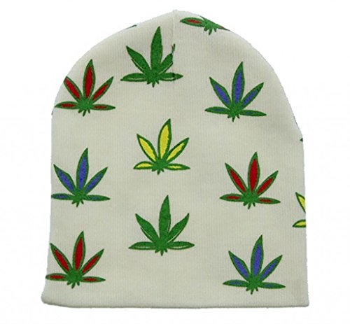 Print Winter Beanie - Milani Winter Marijuana Leaf Print Short Beanie Skull Cap Hat White