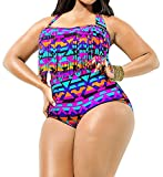 Creabygirls Womens Plus Size Print High Waist Two Piece Tassel Swimsuits(XX-Large)