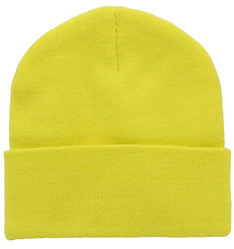 (Top Level Unisex Cuffed Plain Skull Beanie Toboggan Knit Hat/Cap in 20 Colors (Yellow_))