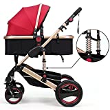 OLizee Luxury Newborn Baby Foldable Anti-shock High View Carriage Travel System Infant Stroller Pushchair Pram(Red£