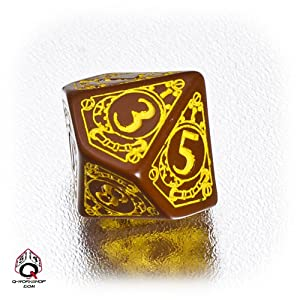 Q WORKSHOP 1 (One) Single d10 Carved Steampunk Ten Sided Dice/Die (Brown/Yellow)