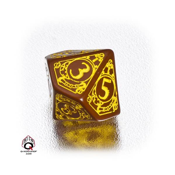 Q WORKSHOP 1 (One) Single d10 Carved Steampunk Ten Sided Dice/Die (Brown/Yellow) 3