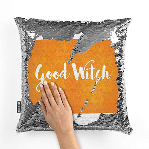 NEONBLOND Mermaid Pillow Cover Good Witch Halloween Orange Wallpaper Reversible Sequin