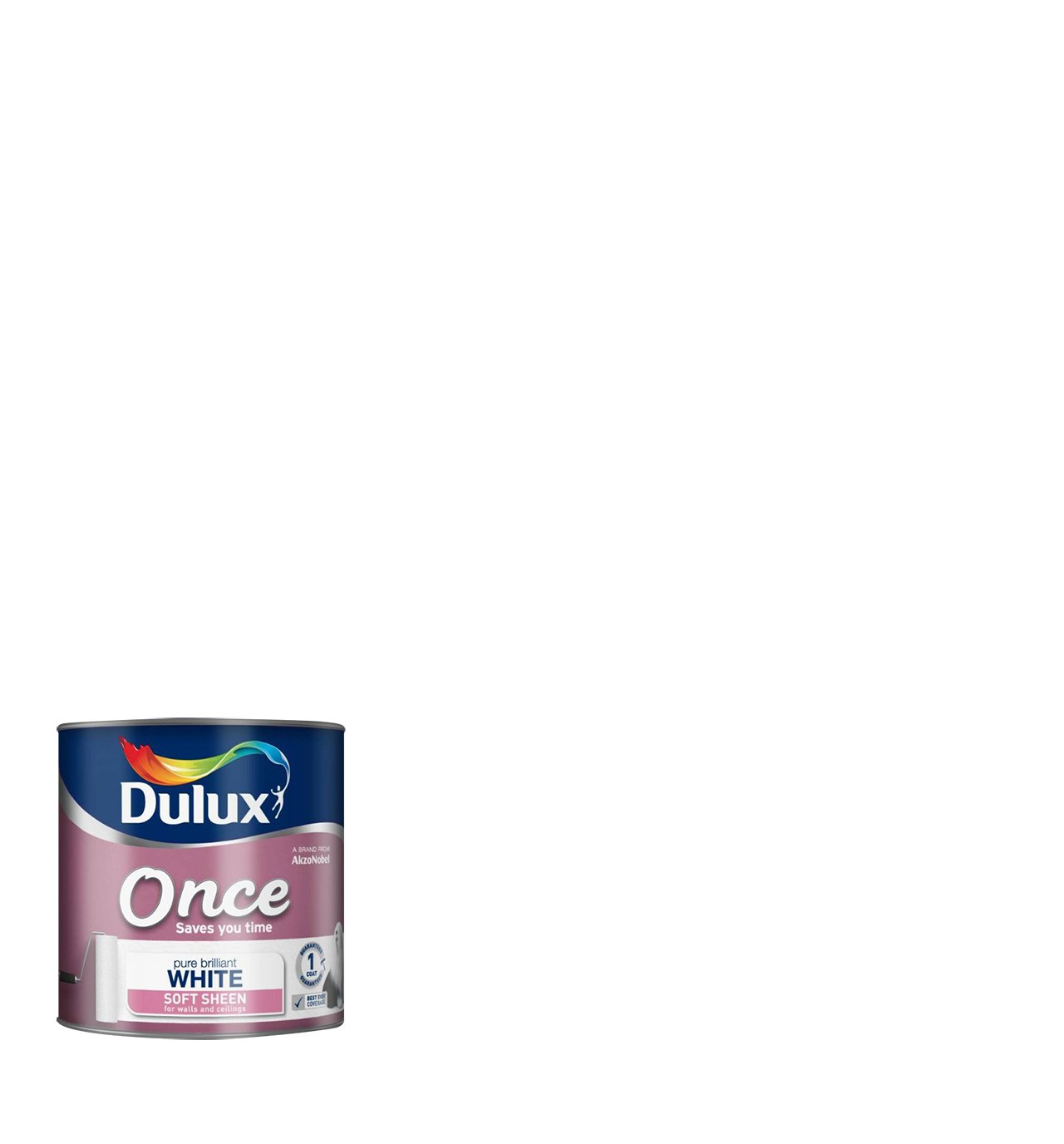 Dulux Once Soft Sheen Emulsion Paint For Walls And Ceilings - Pure Brilliant White 5L 5190989