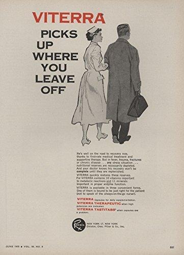 1958-ad-roerig-pfizer-viterra-vitamins-nursing-art-nurse-original-vintage-advertisement
