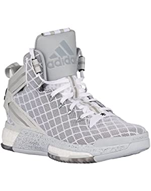 Performance D Rose 6 Boost J Shoe (Big Kid) , White-Black-Clear Grey, 3.5 D(M) US