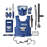 Toys : The M World Kids Police Officer Role Play 14 Pieces Badge, Handcuffs, Shield, Vest, Flashing Light, Whistle, Police Baton More