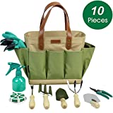 INNO STAGE Garden Tool Organizer Tote Bag with 10 Piece Garden Tools,Best Gardening Gift Set,Vegetable Garden Tool Kit,Gardening Hand Tools Set Bag with Garden Digging Claw Gardening Gloves