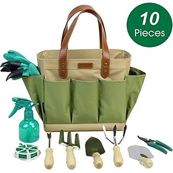 INNO STAGE Garden Tool Organizer Tote Bag With 10 Piece Garden Tools,Best Gardening  Gift