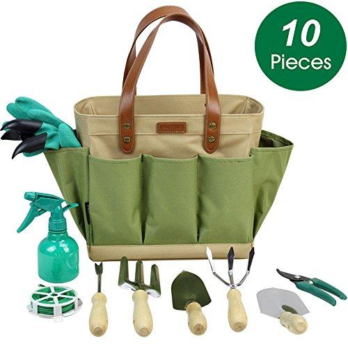 INNO STAGE Garden Tool Organizer Tote Bag with 10 Piece Garden Tools,Best Gardening Gift Set,Vegetable Garden Tool Kit,Gardening Hand Tools Set Bag with Garden Digging Claw Gardening Gloves by INNO STAGE