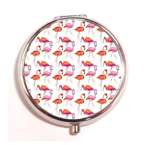Pink Summer Custom Fashion Silver Round Pill Case Drug Organizer Holder Pocket Or Wallet Organizer Case (Summer Spades)