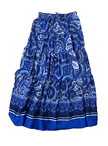 LAUREN RALPH LAUREN Womens Oretha Paisley Tiered Peasant, Boho Skirt Blue L -