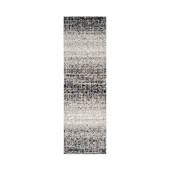 Safavieh Adirondack Collection ADR116A Silver Black Modern Abstract Distressed Runner - Choose from available sizes and shapes Choose from available colors Easy-care polypropylene material - living-room-soft-furnishings, living-room, area-rugs - 51T9qHjK9bL. SS570  -