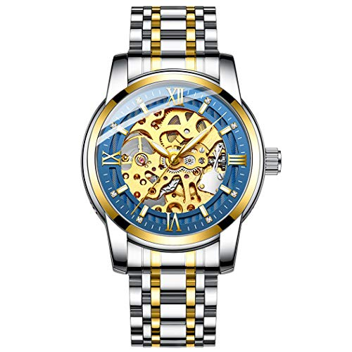 Original Delicate Skeleton Mechanical Watches for Men Automatic Slef-Wind Wrist Watch Luxury Stainless Steel Watch, Luminous Dial, 30M Waterproof (Gold Blue) ()