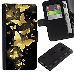 KLONGSHOP / Tirón de la caja Cartera de cuero con ranuras para tarjetas - Gold Butterfly Bling Black Paint Money - Samsung Galaxy S5 V SM-G900