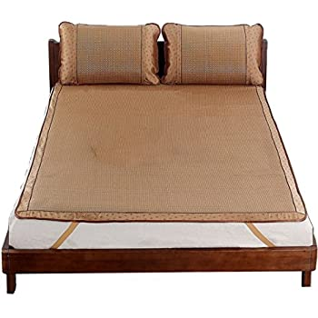 Qbedding Rattan Cooling Summer Sleeping Pad Mattress Topper & Pillow Shams Set (Cal-King 71