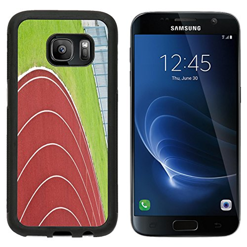 [MSD Premium Samsung Galaxy S7 Aluminum Backplate Bumper Snap Case IMAGE ID 20885489 Curve of Race Track in Big Football Stadium] (985 Race)