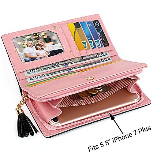 """UTO Mujer largo Wallet PU Cuero Clutch 5.5"""" Phone Case 12 Tarjeta Slots Holder Cremallera Pocket Cartera Baby Blue Light Rosado__3"""