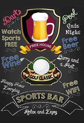 - FDerks Sports Bar: Golf Pub Black Vintage Industrial Custom Metal Tin Sign Home House Coffee Beer Drink Bar 8 x 12 Inches