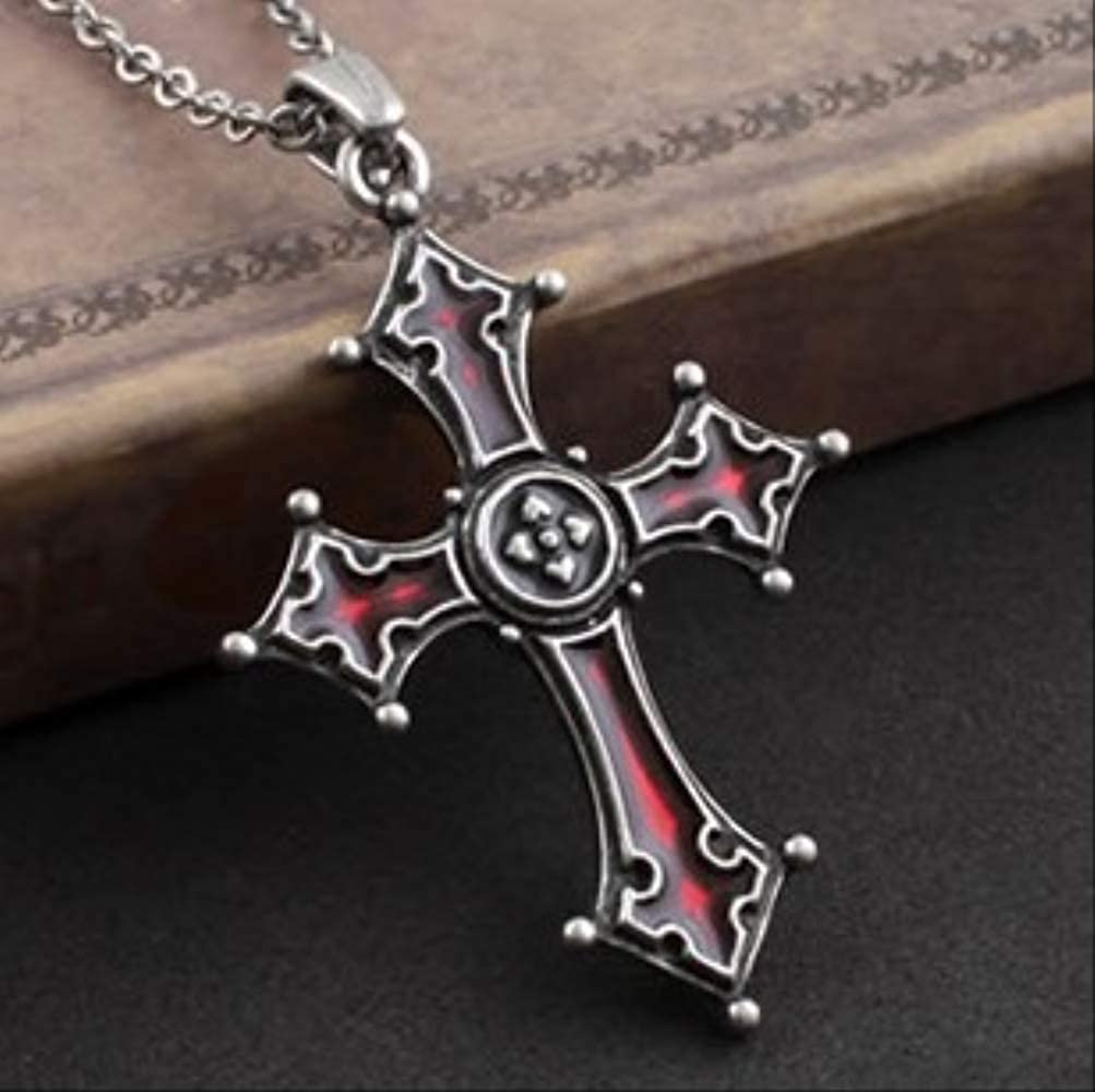 SWAOOS Dark Red Glaze Gothic Vampire Vintage Cross Pendant Necklace Hiphop Rock Sweater Chain Fashion Jewelry
