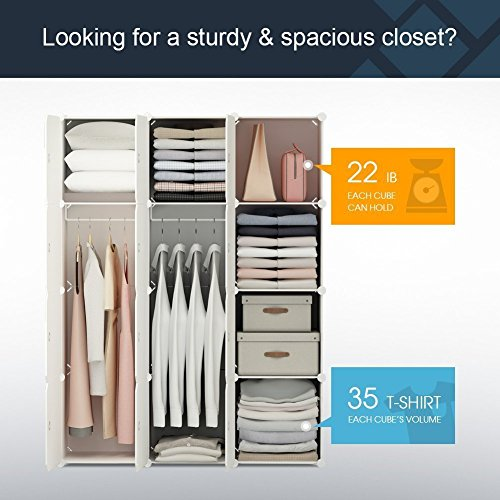 MAGINELS Portable Closet Clothes Wardrobe Bedroom Armoire Storage Organizer with Doors, 6 Cubes & 2 Hanging Sections, Wood Grain Pattern