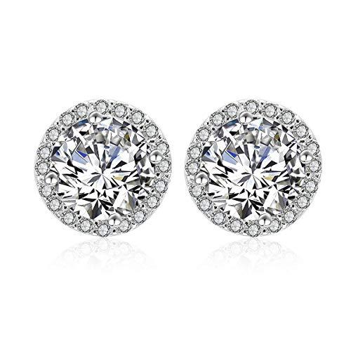 (Silver Cubic Zirconia Stud Earrings - 925 Sterling Silver Swarovski Crystal Round Diamond Rhinestone CZ Halo Studs Earrings for Women Men Everyday Earrings 9mm)