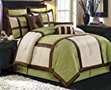 Comforter Set 8 Piece Olympic Queen Size Luxury Complete Bed Set - with Shams Bed Skirt and Decorative Pillows - Modern Color Block Oversized Bedding Green Brown