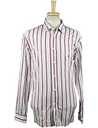 Zegna Sport White/Red Striped Cotton Blend Casual Shirt Size XXL