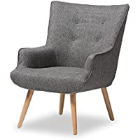 Baxton Studio Geneva Mid-Century Inspired Grey Fabric Upholstered Occasional Armchair, One Size