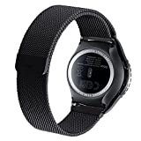 Yishun Fully Magnetic Closure Milanese Loop Stainless Steel Watch Band Strap for Samsung Galaxy Gear S2 Classic Smartwatch (Model:SM-R732) (Black)