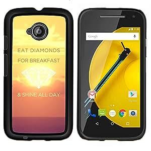 LECELL--Funda protectora / Cubierta / Piel For Motorola Moto E2 E2nd Gen -- Shine Día Diamantes Sunset Inspiring Amarillo --