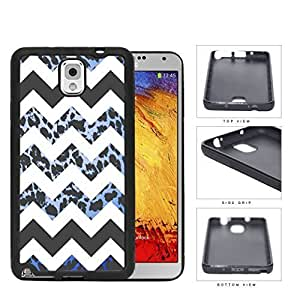 Black and White Chevron Design with Blue Leopard Pattern Hard Rubber TPU Phone Case Cover Samsung Galaxy Note 3 N9000