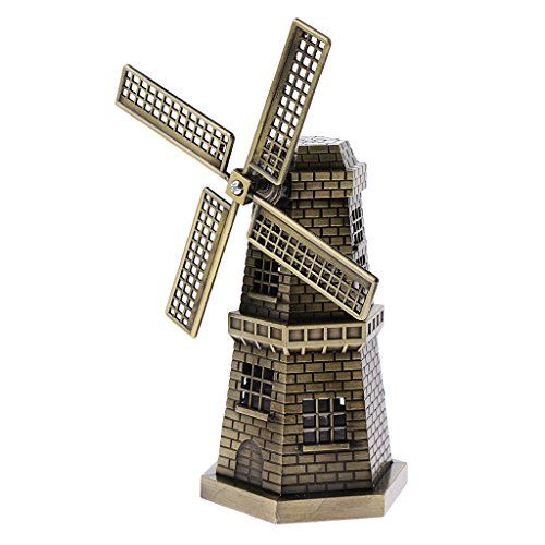 MonkeyJack Bronzer Holland Windmill Statue Sculpture Figurine - Home Bookshelf Decor