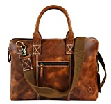 """15"""" Rugged & Distressed Leather Laptop Bag 