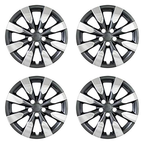 MARROW New Wheel Covers Replacements Fits 2014-2018 Toyota Corolla; 16 Inch; 8 Spoke; Chrome Plated/Charcoal; Plastic; Set Of 4; Standard Leg