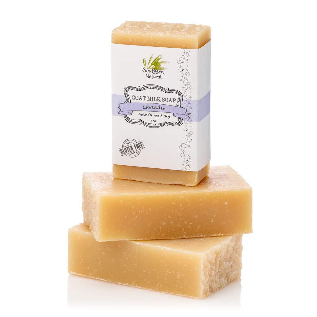 Lavender Goat Milk Soap Bars - For Eczema, Psoriasis & Dry Sensitive Skin! 100% Natural Handmade Soap. Gentle Baby Soap, Face soap & Body Soap. (3 BARS)