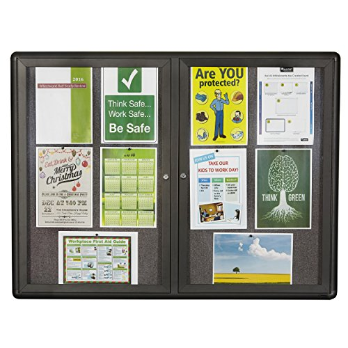 Quartet Enclosed Fabric Bulletin Board, 4 x 3 Feet, 2 Doors, Black Frame with Gray Fabric (Enclosed Bulletin Board Cabinet)