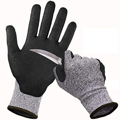 - CCBETTER Cut Resistant Gloves Safety Work Gloves with Level 5 Protection Kitchen and Garden Mittens for Meat Cutting Wood Carving Driving and Outdoor Activities (L, Gray)