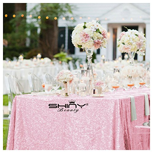 Shimmer-Baby Pink-Sequin Tablecloth, Rectangle Sequin Table Overlay 84x108-inch, Wholesale Shiny Elegant Sequin Table Cloth, Sequin - 108' Round Tablecloth Polyester