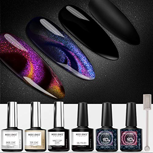 MODELONES Cat Eye Gel Polish Set Chameleon Magnetic Gel Polish Galaxy Glitter Gel Polish Matte Top Coat Base Top Coat Shine Set10ml with Magnet Stick UV/LED Gel Nail Polish Set 5pcs (Dark Cat Eyes)