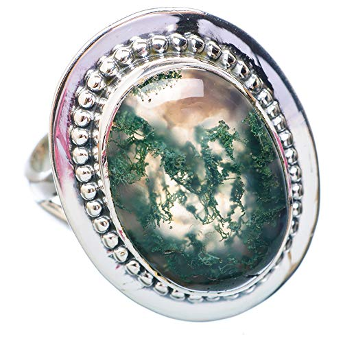 Green Moss Agate Ring Size 9.25 (925 Sterling Silver) - Handmade Boho Vintage Jewelry RING920541 ()