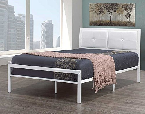 Double Size White Metal Frame with Padded Leatherette Headboard Import Furniture
