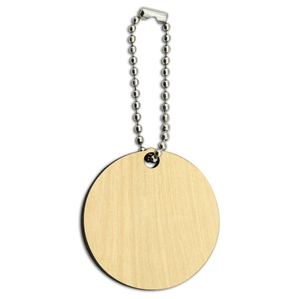 Rainbow Peeps Pattern Wood Wooden Round Keychain Key Chain Ring