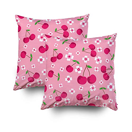 GROOTEY Gamer Pillow Case, Square Pillow Covers with Zip Couch Sofa Décor Pink Background Cherries Flowers Sweet Cherry Pattern Can Be Used Like Wallpaper Greeting Card 18X18 Set of 2 Throw Cushion