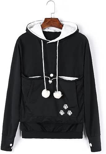 VincentDeep Unisex Cat Ear Big Kangaroo Pouch Hoodie Long Sleeve Pet Cat Dog Holder Carrier Sweatshirt