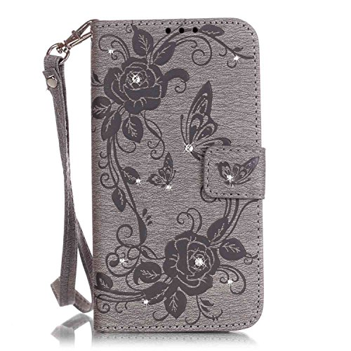 (Matop Compatible for iPhone 7 Plus / 8 Plus Wallet Case Wallet Leather Flip Protective Luxury Glitter Bling Diamond Rose Rhinestone Case Card Slot Kickstand for iPhone 7 Plus iPhone 8 Plus (Gray))