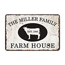 "Custom Personalized Vintage Distressed Look Farm House Metal Sign For Home Decor 7"" X 10"""