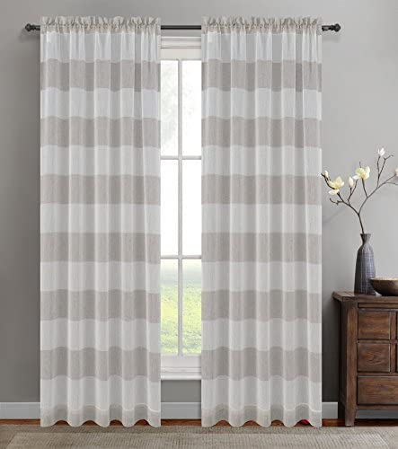 Urbanest 54-inch by 96-inch Set of 2 Nassau Faux Linen Sheer Striped Curtain Panels, Oyster