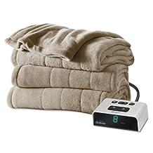 Sunbeam Microplush Heated Blanket with ComfortTech Controller, King, Mushroom
